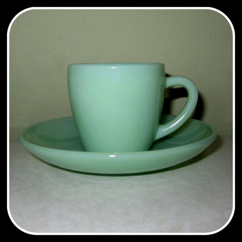 Fire King Jadite RW Restaurant Ware Demi Demitasse Coffee Tea Cup & Saucer