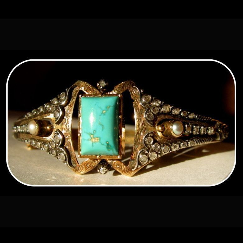 19K Gold, Diamond, Pearl & Turquoise Bracelet, Victorian