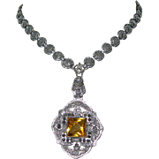 Art Deco Filigree Necklace, Czech Glass Beauty