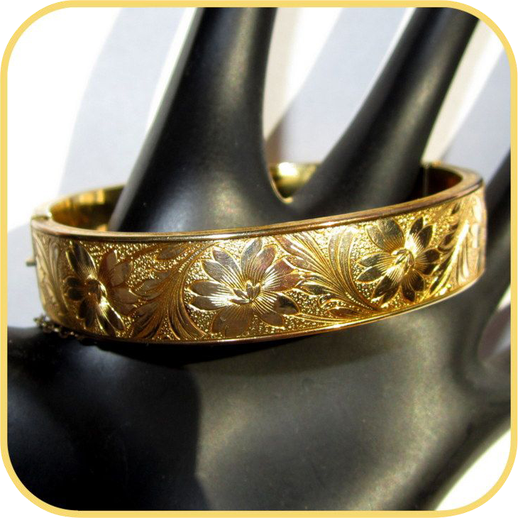 Victorian Sterling Bangle Bracelet, Gold Wash, Floral Repousse