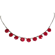 Art Deco Red Crystal Necklace, Sterling