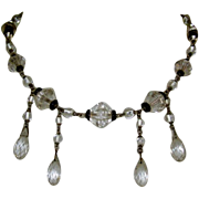 Art Deco Czech Glass Necklace, Clear & Black Faceted Crystals