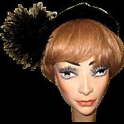 Velvet Tam, Ostrich Pom, Vintage Glam Marshall Field