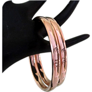 Victorian Wedding Bracelets, Pair Rose Gold Rolled & Filled