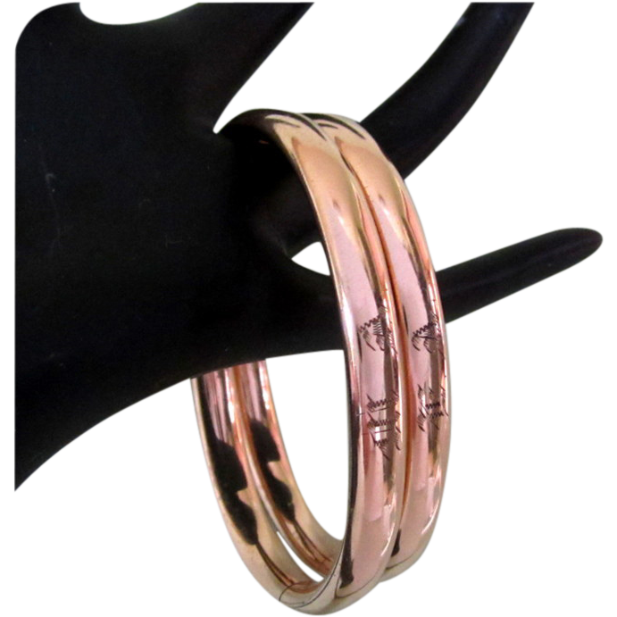 Victorian Wedding Bracelets, Set Rolled Rose Gold