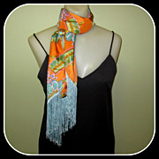 60's Psychedelic Scarf, Floral, Fringed & Funky