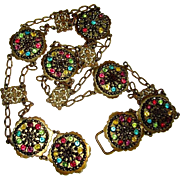 Vintage Art Nouveau Belt, Necklace, Filigree & Steel Cut Beads