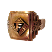 Art Deco Ring, Gold over Sterling, 1939, Handsome