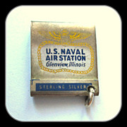 Glenview Naval Sterling Silver Matchbook Charm, 40's