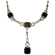 Edwardian Sterling Necklace, Onyx & Marcasite, Fancy Chain
