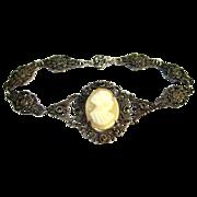 Edwardian Cameo Bracelet, Sterling Filigree, Marcasite
