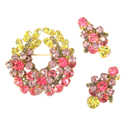 D&E Juliana Rhinestone Brooch & Earrings, Floral Wreath