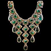 Victorian Festoon Necklace, Book Chain, Emerald Crystals