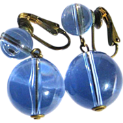 Orb Earrings Pale Blue Clear Drops, Vintage Victorian Revival