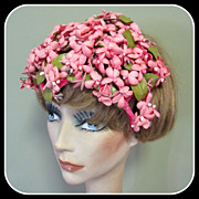 Vintage Hat, Pink Flowers & Green Leaves, Easter 50's