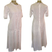 Edwardian Tea Dress, White Cotton, Lace, Garden Party Pretty