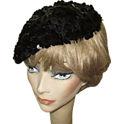 Sequined Hat / Beret, 60's Crochet, Black Pailliettes