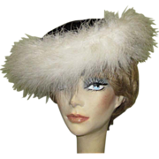 Black Velvet Hat, White Ostrich