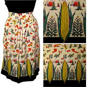Vintage Apron, Corn Ears, Pumpkins & Harvest Border Print