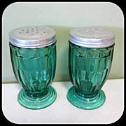 Jeannette Ultramarine Jenny Ware Salt & Pepper Shakers Footed 1930's