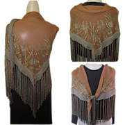 Vintage Shawl, Sheer Rayon, Embroidery & Long Fringe