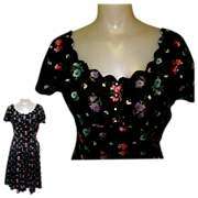 40's Dance Dress,Cotton Fit & Flare, Rhinestone Buttons