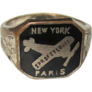 Spirit of St. Louis Ring,  Enamel, 1920's Vintage Memorabilia