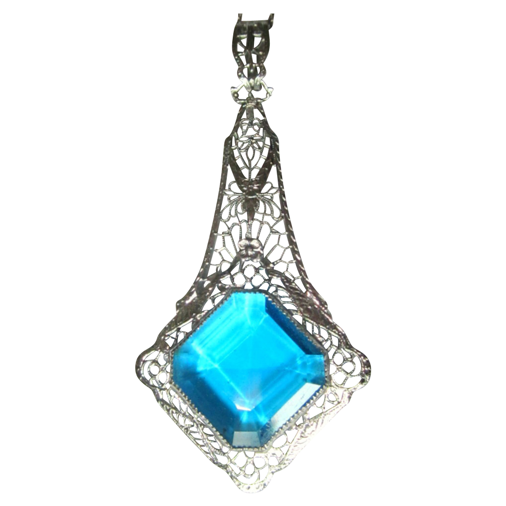 Art deco necklace rhodium filigree blue stone huge from for Best place to sell gold jewelry in chicago