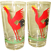 Rooster Glasses, Federal Glass, 50's, Set of 4, Vintage