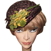 Vintage Straw Hat, Brimmed Floral, Savage Juliette, 30's 40's