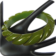 Bakelite Rope Carved Bangle, Green Bangle, Deco