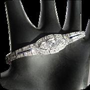 Diamond Bracelet, Platinum & Sapphire, Art Deco 1930's