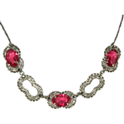 Filigree Necklace, 1920's, Vintage Czech Glass Pink & Pretty