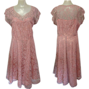 Party Dress, Lace & Rhinestones, Vintage 40's