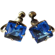 Vintage Sterling Earrings, Sapphire Blue Square Cut Stones, Deco