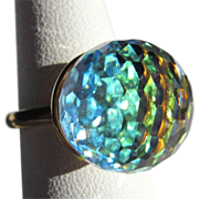Vintage Crystal Ring, Faceted Orb, Large Blue Green