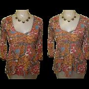 Sheer Knit Blouse, Vintage 80's Hippy, Boho Throwback