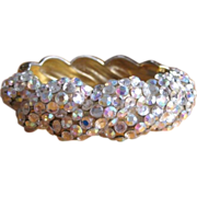 Vintage 50's 60's Rhinestone Clamper Bracelet, Pave Stones