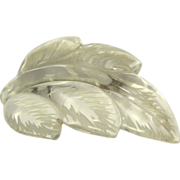 Lucite Pin, Clear Reverse Carved Leaf - Large