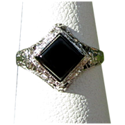 Gold Filigree Ring, Ostby Barton, 10K, Onyx