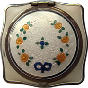 Art Deco Guilloche Enamel Compact, Rouge & Powder