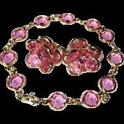 Crystal Bracelet & Earrings, Pink Bezel Set, Rhinestone Demi