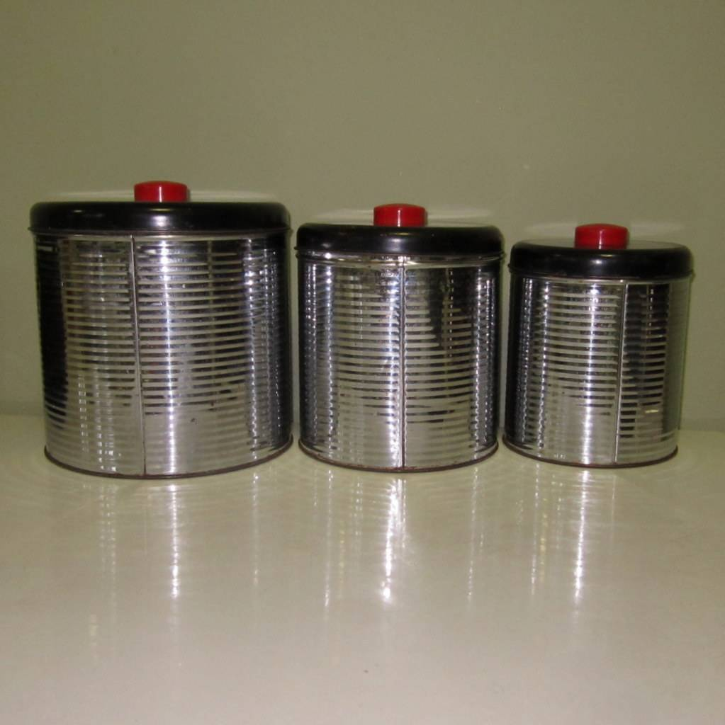 art deco canister set chrome kitchen ribbed from lakegirlvintage roll over large image to magnify click large image to zoom