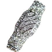 Deco Rhinestone Bracelet, Hinged Clamper, 40's