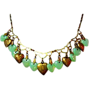 Glass Works Studio Necklace, Jadite Green Heart Charms