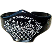 Deco Celluloid Sparkle Bracelet - Carved, Painted Cuff, Rhinestone 20's