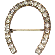 Victorian French Paste Brooch, Horseshoe Pin