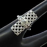 Platinum Diamond Ring, Art Deco Custom, 1.7 cts