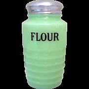 Jeannette Jadite Ribbed Flour Shaker, Depression Glass