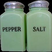 McKee Jadite Salt & Pepper Shakers, Block, Square